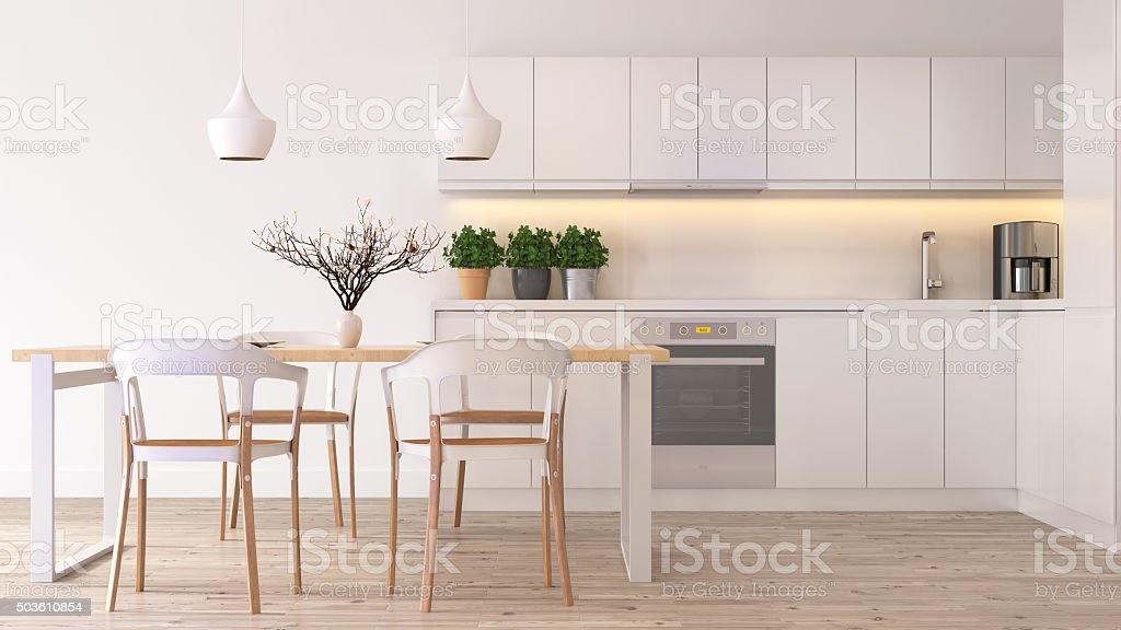 Modern scandinavian kitchen stock photo