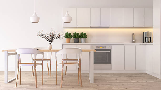 modern scandinavian kitchen - domestic kitchen stock photos and pictures