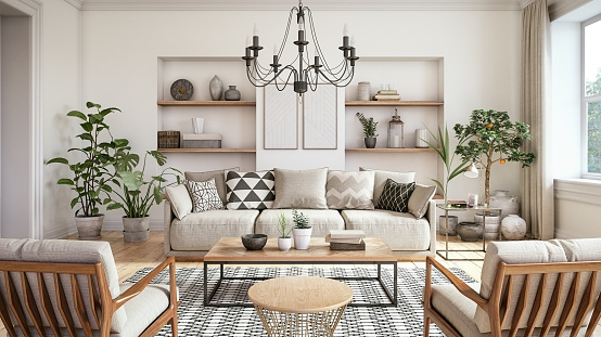 istock Modern scandinavian living room interior - 3d render 1034261806