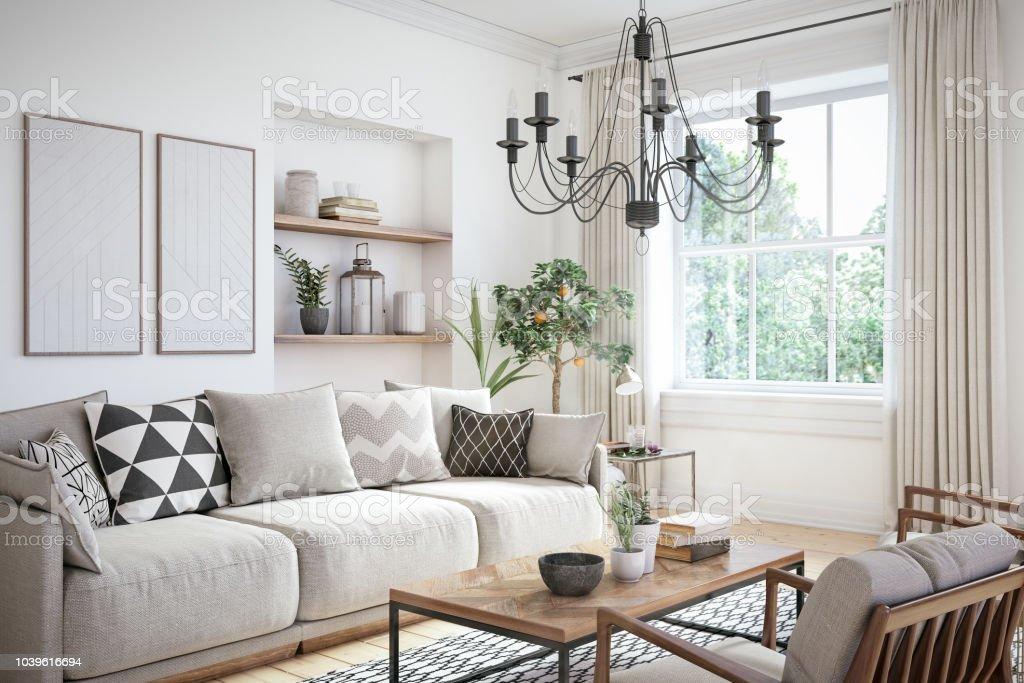 modern scandinavian living room interior 3d render stock