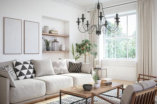 Scandinavian interior design living room 3d render with beige colored furniture and wooden elements
