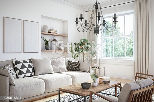 istock Modern scandinavian living room interior - 3d render 1039616694