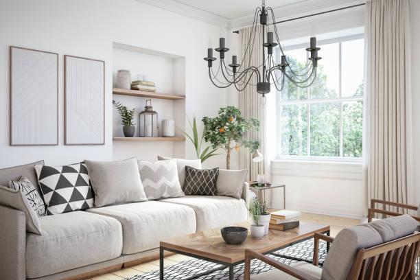現代斯堪的納維亞起居室室內-3d 渲染 - 室內 個照片及圖片檔