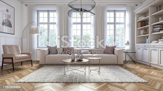 istock Modern scandinavian living room interior - 3d render 1152343454