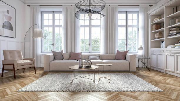 nowoczesne skandynawskie wnętrze salonu - render 3d - luksus zdjęcia i obrazy z banku zdjęć