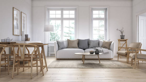 Modern scandinavian living room interior - 3d render Scandinavian interior design living room 3d render with white colored furniture and wooden elements serbia and montenegro stock pictures, royalty-free photos & images