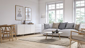 Scandinavian interior design living room 3d render with white colored furniture and wooden elements