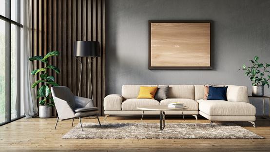 istock Modern scandinavian living room interior - 3d render 1174450689