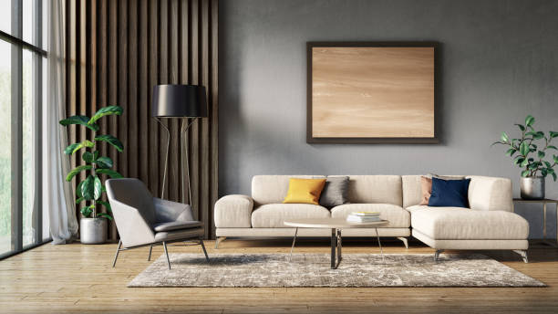 Modern scandinavian living room interior - 3d render Scandinavian interior design living room 3d render with gray and beige colored furniture and wooden elements northern europe stock pictures, royalty-free photos & images