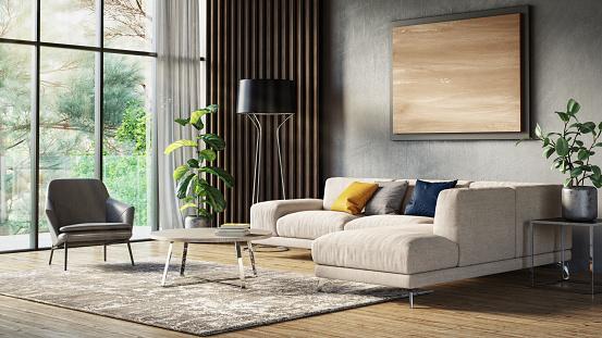 Modern Scandinavian Living Room Interior 3d Render Stock ...