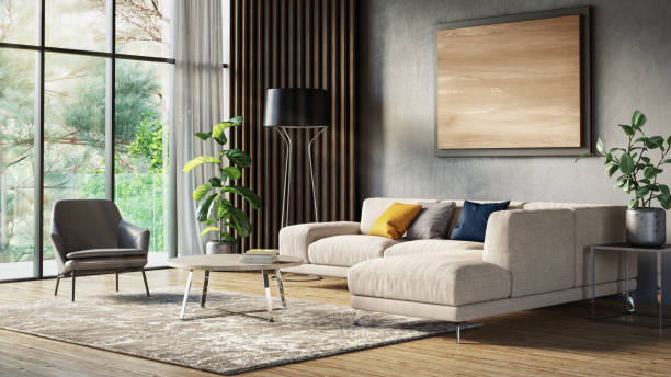 Modern scandinavian living room interior - 3d render Scandinavian interior design living room 3d render with gray colored furniture and wooden elements serbia and montenegro stock pictures, royalty-free photos & images