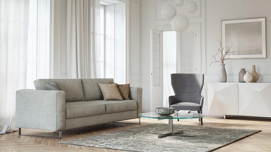 istock Modern scandinavian living room interior - 3d render 1176861661