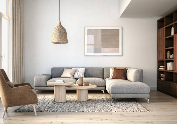 Modern scandinavian living room interior - 3d render Scandinavian interior design living room 3d render with gray and beige colored furniture and wooden elements domestic room stock pictures, royalty-free photos & images