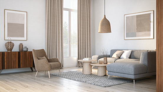 Scandinavian interior design living room 3d render with gray and beige colored furniture and wooden elements