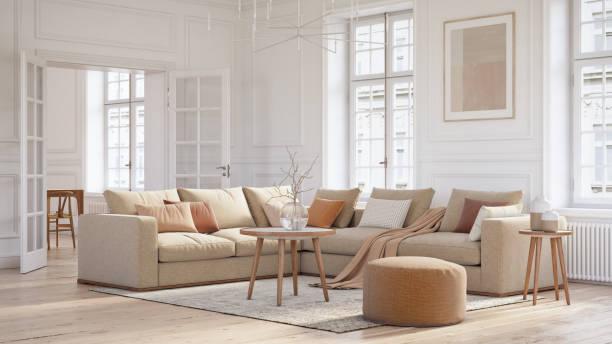 モダンなスカンジナビアのリビングルームのインテリア - 3dレンダー - 椅子 家具 ストックフォトと画像