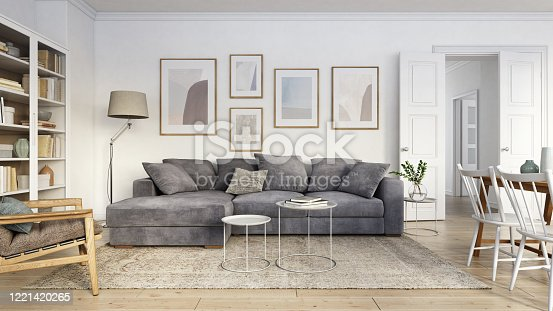 istock Modern scandinavian living room interior - 3d render 1221420265