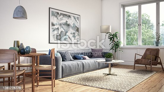 Scandinavian interior design living room 3d render with gray and brown colored furniture and wooden elements