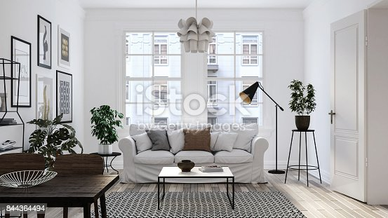 istock Modern scandinavian living room interior - 3d render 844364494