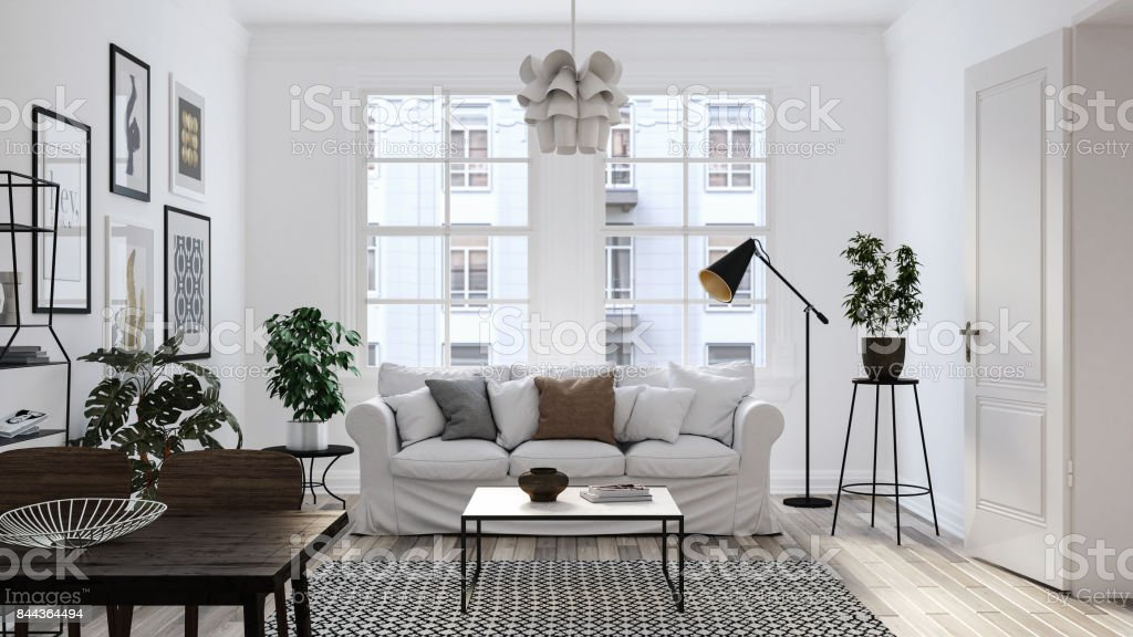 Modern scandinavian living room interior - 3d render stock photo