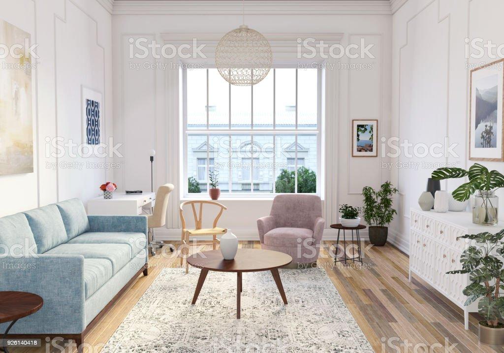 Moderne Skandinavische Wohnzimmer Interieur 3d Render ...