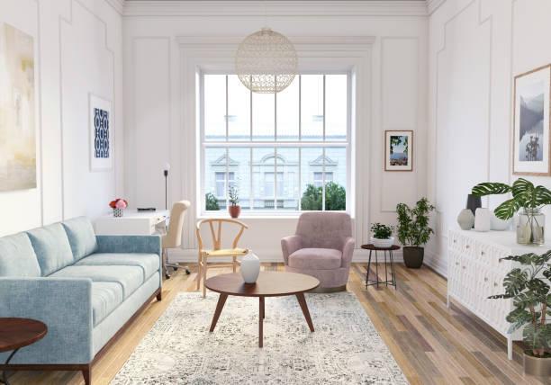 Modern scandinavian living room interior - 3d render stock photo