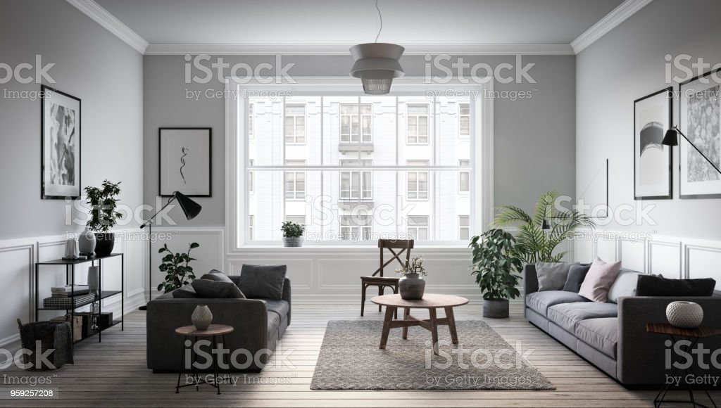Moderne Skandinavische Wohnzimmer Interieur 3d Render Stock ...