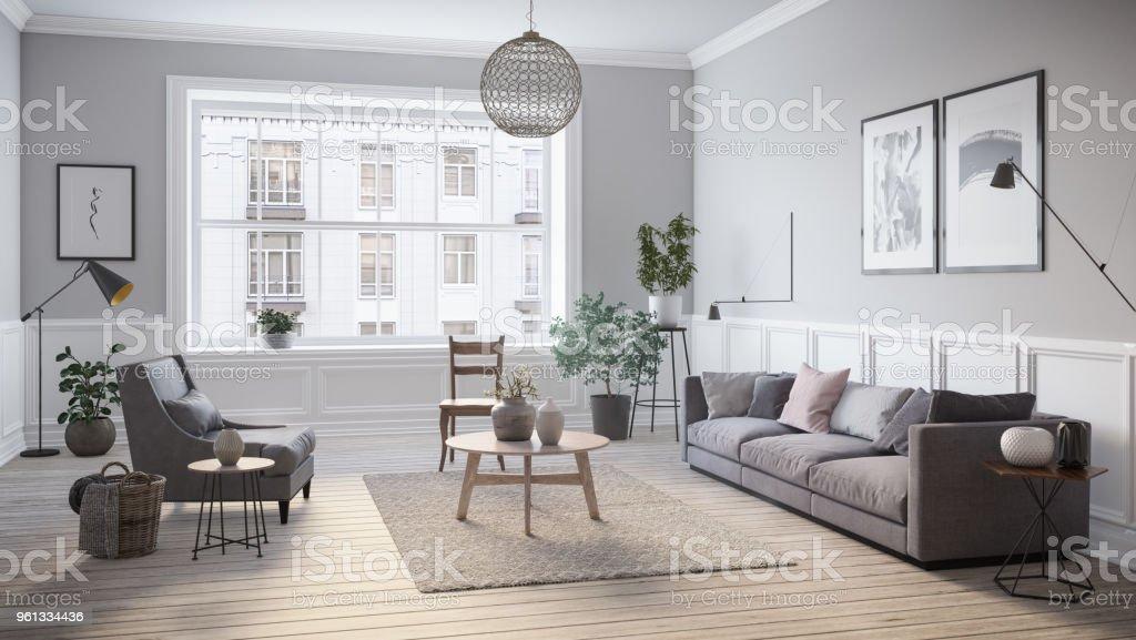 Modern scandinavian living room interior - 3d render royalty-free stock photo