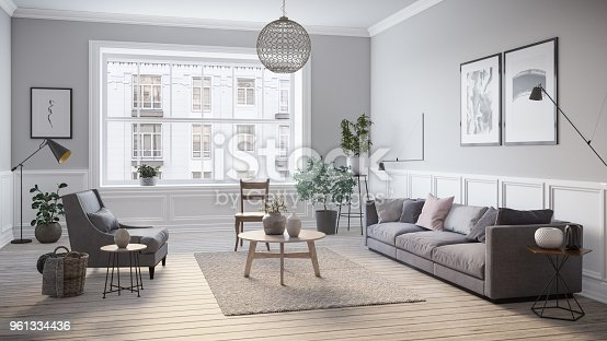 istock Modern scandinavian living room interior - 3d render 961334436