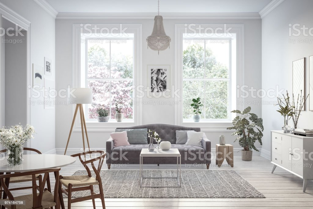 Moderne Skandinavische Wohnzimmer Interieur 3d Render Stockfoto und ...