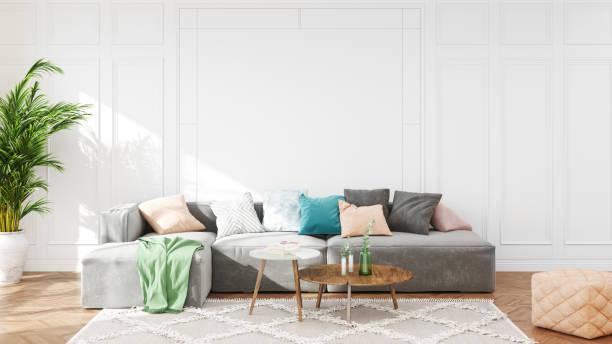Modern Scandinavian Living Room Interior stock photo