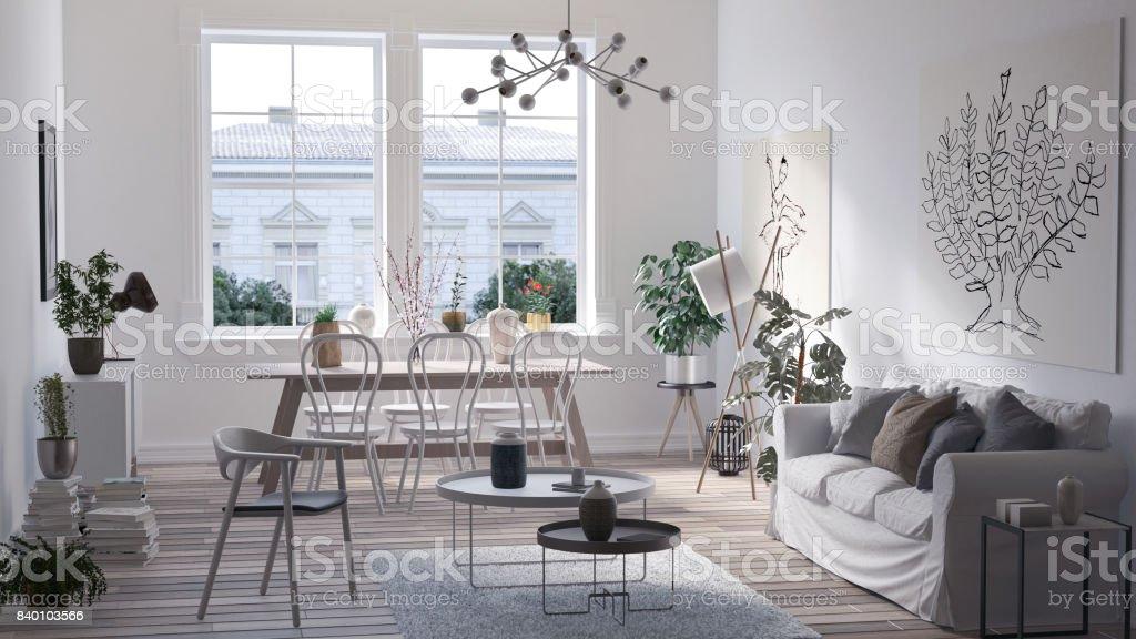 Moderne Skandinavische Wohnzimmer Interieur Design In Weiß 3d Render ...