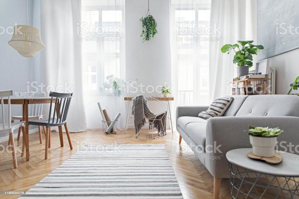 Photo Libre De Droit De Salon Scandinave Moderne Avec