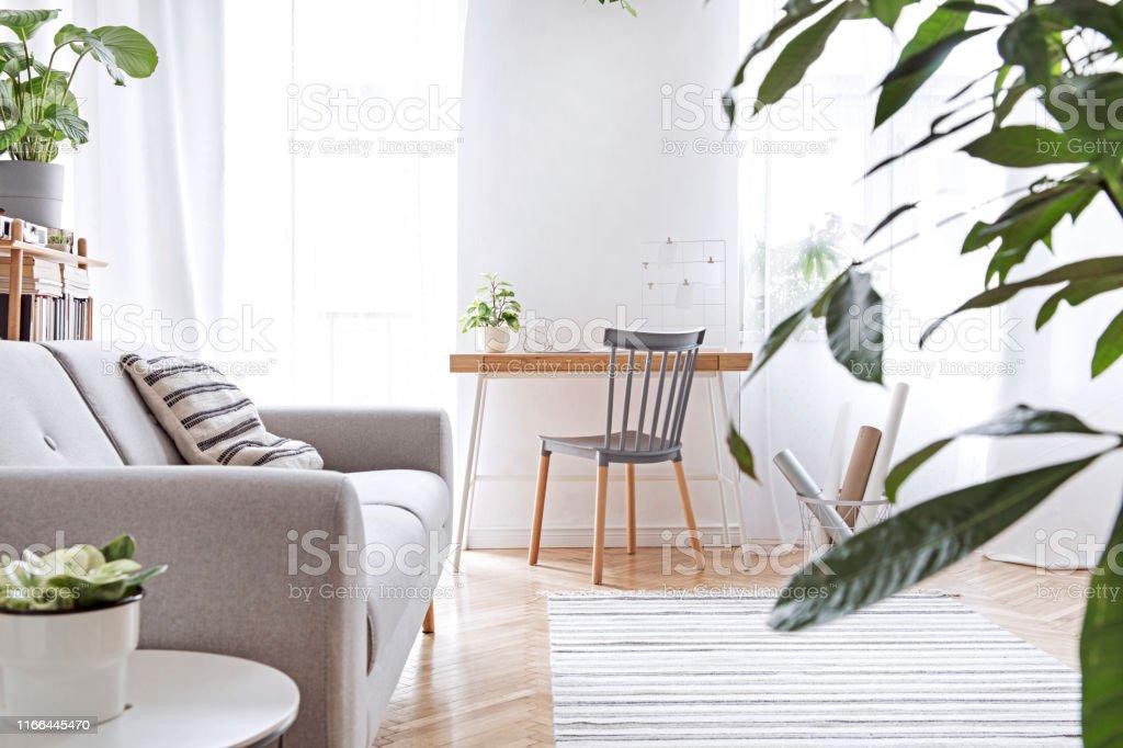 Modernes Skandinavisches Wohnzimmer Mit Designmöbeln Grauem ...