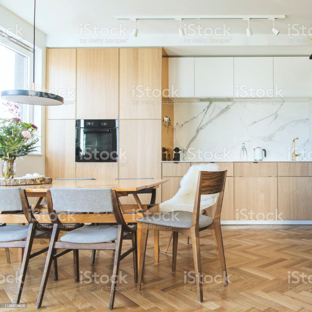 Phenomenal Modern Scandinavian Open Space Interior Of Kitchen With Short Links Chair Design For Home Short Linksinfo