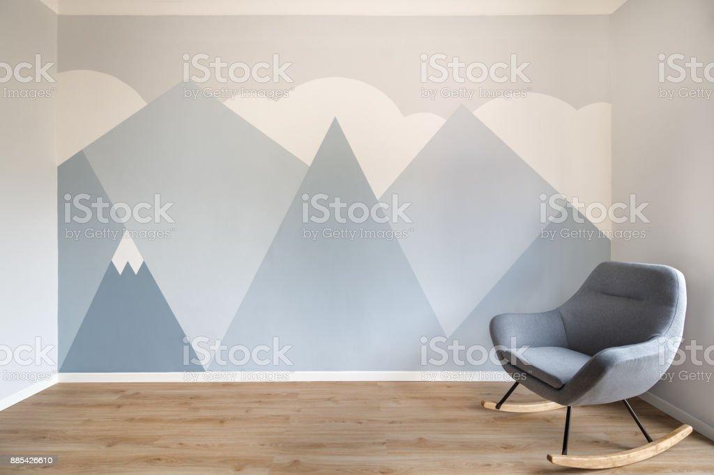 Superbe Peinture Murale La Conception Du Style Scandinave Moderne Peint Chambre  Photo Libre De Droits