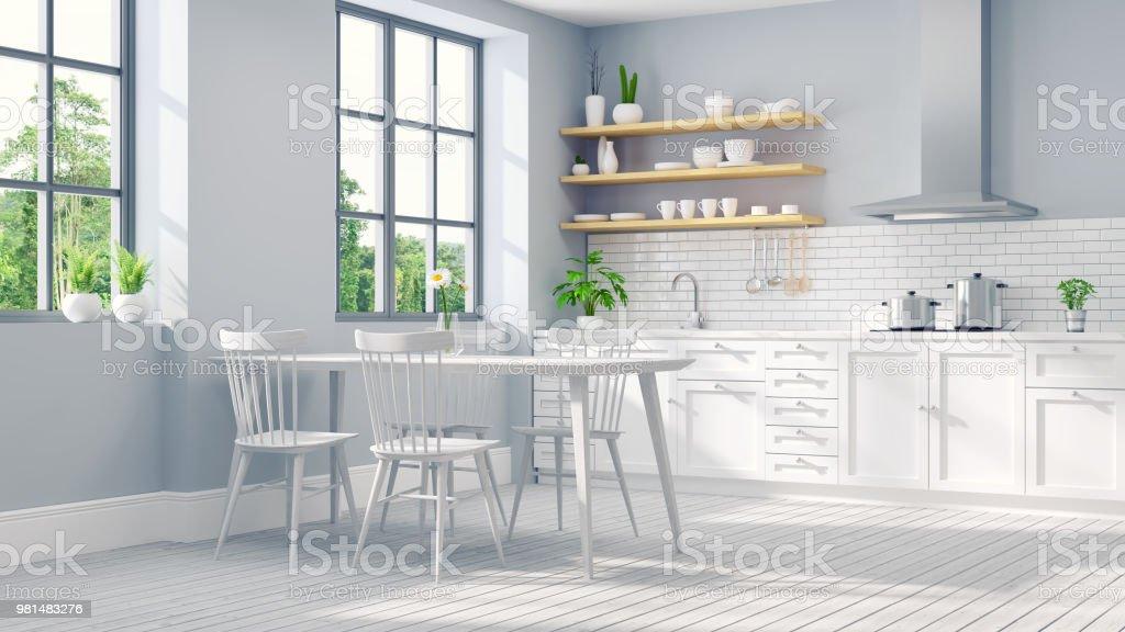 Moderne scandinavische stijl keuken witte kamer interieur drender