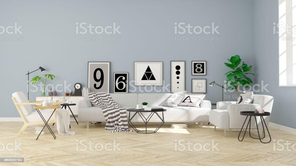 Modernen Skandinavischen Stil, Wohnzimmer Innenraum Konzeptdesign, Graue  Sofa Auf Holz Parkett Und Blaue