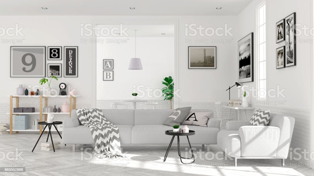 modern scandinavian style living room interior concept gray sofa on wood floor with white wall3d. Black Bedroom Furniture Sets. Home Design Ideas