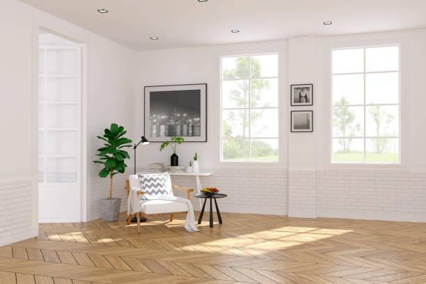 modernen skandinavischen stil, wohnzimmer innenraumkonzept, weiße sessel auf holzboden mit weißen wand, 3drender - schlafzimmer beleuchtung stock-fotos und bilder