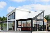 Open solution, large windows, wooden. Wooden veranda.
