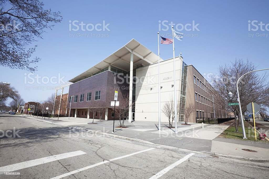 Modern School Building in Chicago, Southwest Side royalty-free stock photo