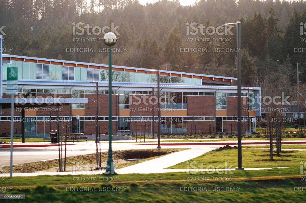 Modern School Building in Pacific Northwest stock photo