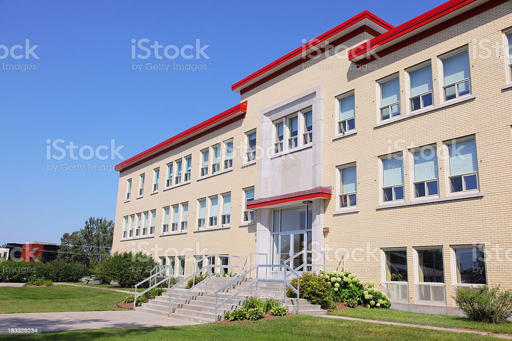 Modern School Building in Summer stock photo