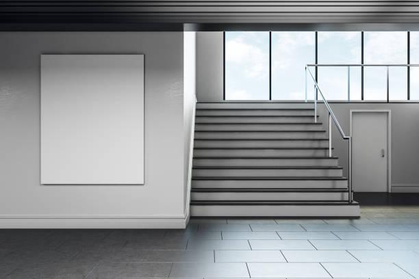 Moderne Schule Korridor mit leeren poster – Foto