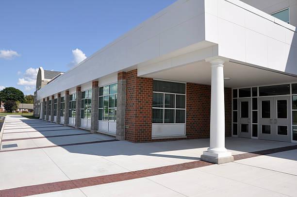 modern school entrance stock photo