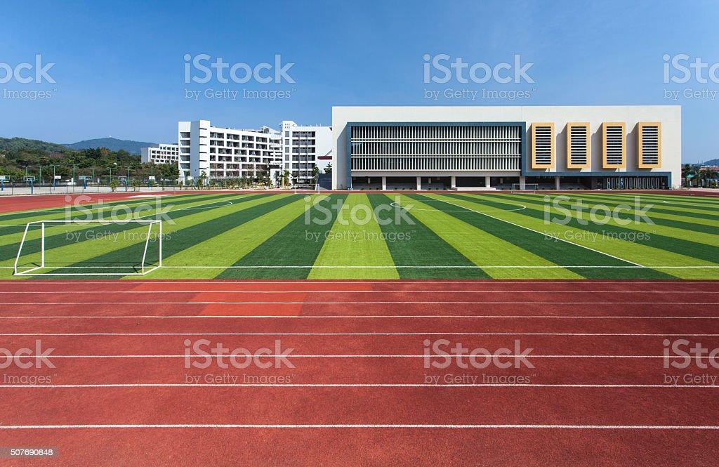 Modern school sports ground.
