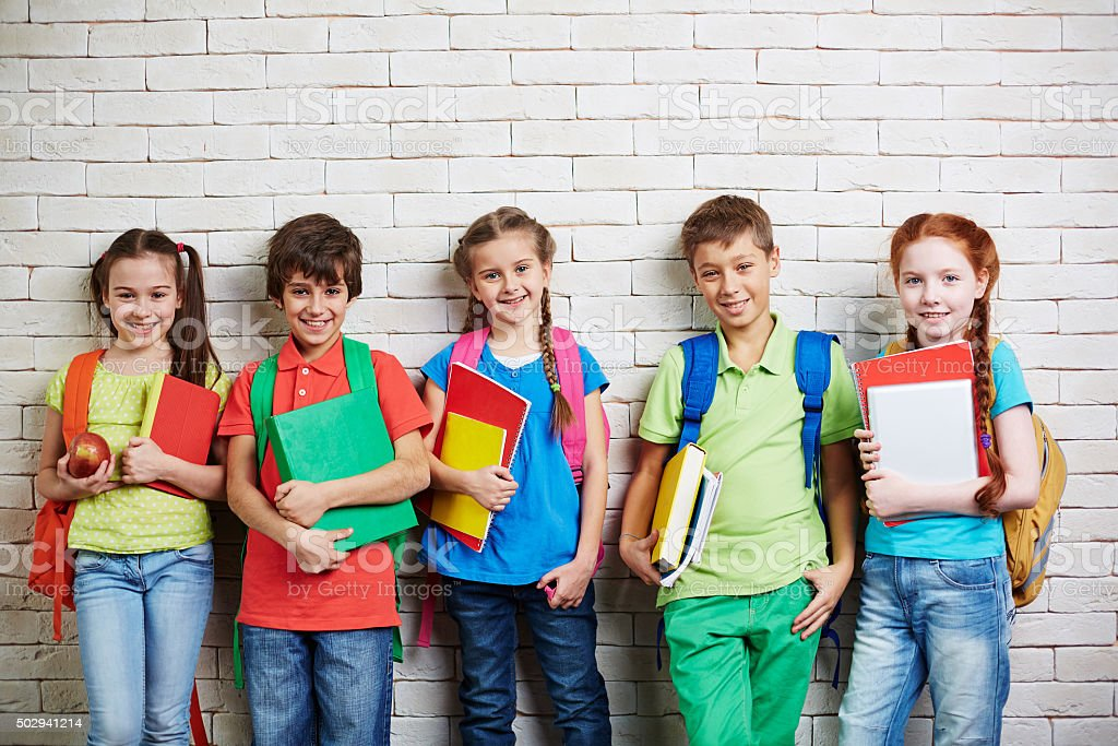 Modern schoolchildren stock photo