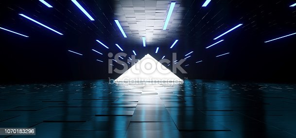 909529832 istock photo Modern Sci Fi Elegant Futuristic Dark Empty Reflective Roof And Floor And White Triangle Light In Middle With Many Led Blue Lights Background 3D Rendering 1070183296