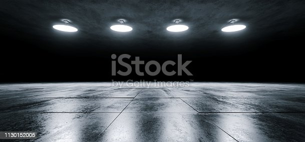 istock Modern Sci Fi Empty Stage Dome Ceiling Lights White Glowing On Dark Grunge Reflective Tiled Concrete Texture Floor Showroom Stage 3D Rendering 1130152005