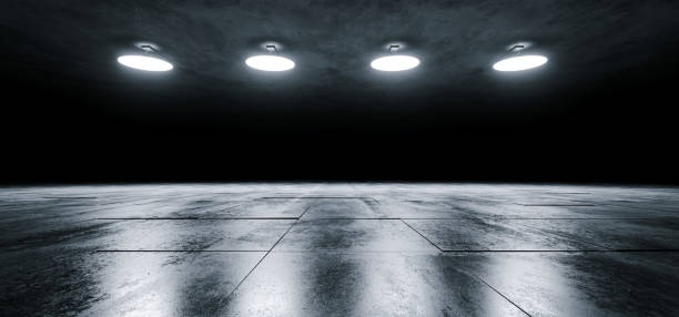 modern sci fi empty stage dome ceiling lights white glowing on dark grunge reflective tiled concrete texture floor showroom stage 3d rendering - space background стоковые фото и изображения
